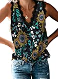 BLENCOT Women's Juniors Cute Floral Lace V Neck Shirts Sleeveless Tops Basic Solid Fashion Tank Tops Blouses Black M