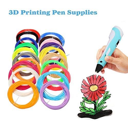 ELEGIANT 20 Stück Ink Filament PLA Filament 3D Stift Filament 1.75MM 10M 3D Print Filament 3D Printing Pen Supplies PLA Material 20 Farben Set für 3D Drucker Stift 3D Pen Kinder - 5