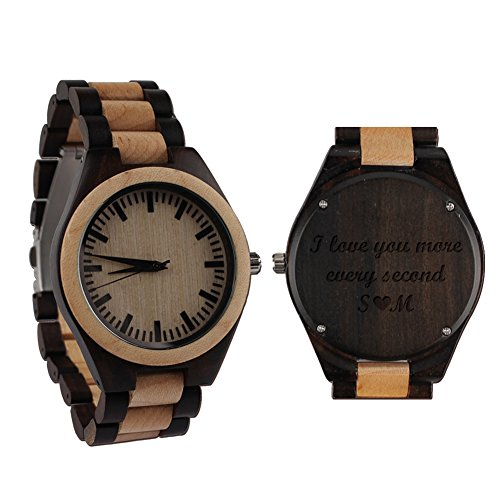 wood watches with dates Custom Engraved Wooden Quartz Wristwatch Watch Husband Gifts Birthday Gifts for Men Double-Sided Engraved