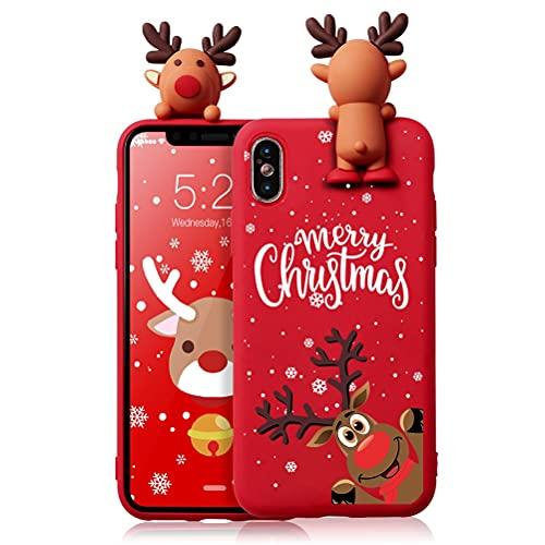 Eouine Capa de Natal para Samsung Galaxy M30 [6,5 polegadas] Capa de telefone de silicone vermelha de Natal com estampa e boneca de Papai Noel 3D, antiarranhões à prova de choque macia para Samsung M30