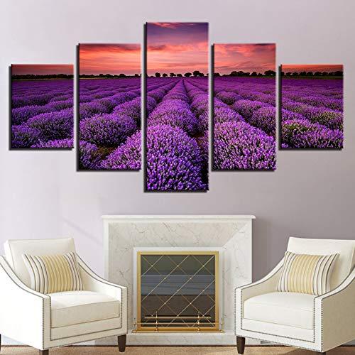 LPHMMD 5 canvas paintings Canvas HD Prints Poster 5 Pieces Purple Lavender Fields Sunset Landscape Painting Wall Art Pictures Home Decor -30x40cm 30x60cm 30x80cm