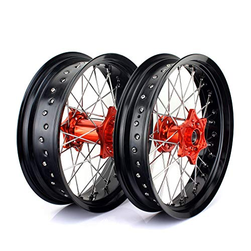 TARAZON Supermoto 17' & 17' Complete Wheels Set Rims SX SXF EXC SXS XC XC-F XC-W EXC-F 125 150 200 250 300 350 400 450 500 505 525 530 540 Orange Hub