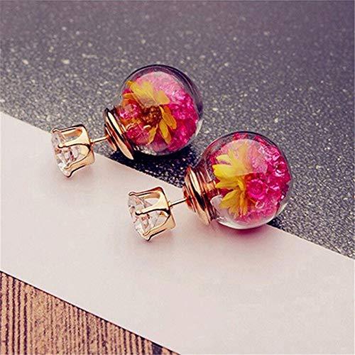 TTYJWDWY-Pendientes de Moda y Bonitos, Elegantes y exquisitas Flores de Cristal de circón para niñas, Pendientes de Bola de Cristal de Doble Cara-Rosa roja