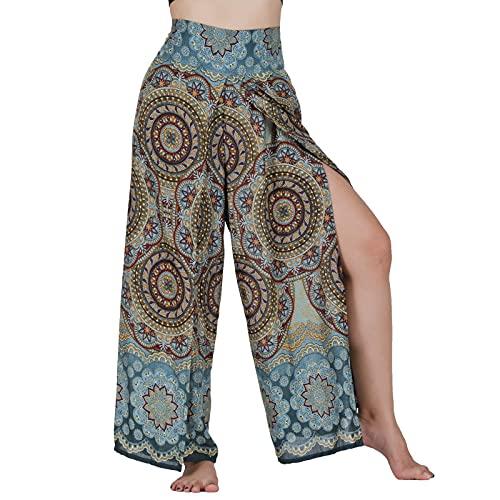 Lofbaz Slit Leg Palazzo Pantalones de Yoga para Mujeres niñas Maternidad Verano Playa Pijama de Cintura Alta Boho Harem Blooming Flor Gris Verde S