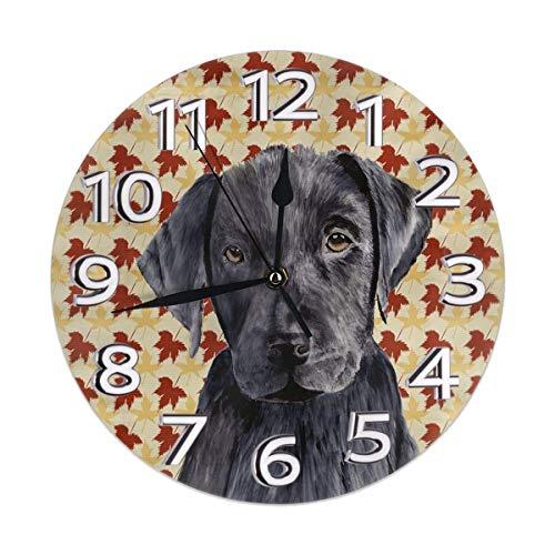 Herbsternte Herbst Schwarz Labrador Lab Hund Blatt verlassen Familie Dekorationen Uhr montiert Schlafzimmer Wohnzimmer Home Art Decor rahmenlose Nicht tickt
