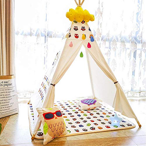 Teepee Tent for Kids Foldable Children Play Tents Children play tent room decorate children teepees and cushions for young boys and girls play tent tent theater cotton canvas tents and window indoor a