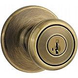 Kwikset Tylo Entry Knob featuring SmartKey in Antique Brass