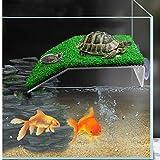Gigicloud Plataforma de tortuga Basking Simulación Césped Turtle Basking Platform Reptiles Juguetes para Acuarios Tortugas Caja Decoración, Grande