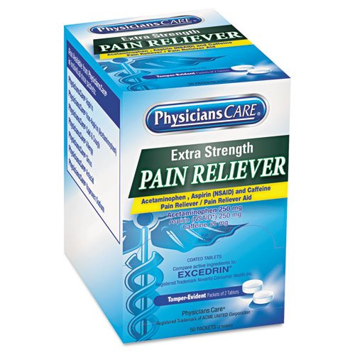 PhysiciansCare Extra-Strength Pain Reliever, Two-Pill Packets - 50 Two-Packs of Pain Relief Tablets.