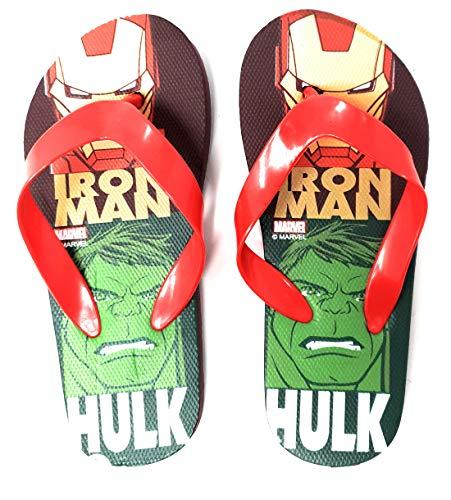 Les Avengers Tongs Enfant garçon Marvel Iron Man et Hulk Marine/Rouge du 28 au 34 (Numeric_34)