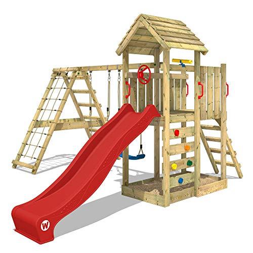 WICKEY Parque infantil de madera RocketFlyer con columpio y tobogán rojo, Torre de escalada de...
