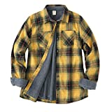 ZENTHACE Women's Thermal Fleece Lined Plaid Button Down Flannel Shirt Jacket Yellow L