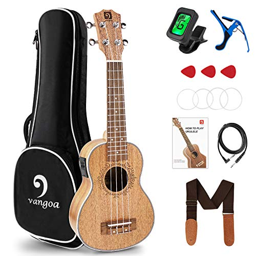 Vangoa Soprano Beginner Kit, 21 inch Acoustic-electric Uke Built-in Pickup with Padded Gig Bag Tuner Capo Picks Strap Extra Strings, Mahogany Ukulele with Study Manual for Beginners, Adults, Kids