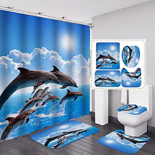 4PCS Sea World Dolphin Shower Curtain Set Bathroom Shower Curtain Sets