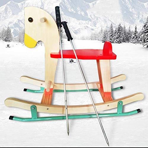 QINAIDI Holz-Schlitten für Kinder - Außenkinder Ice Auto, Doppelzimmer Einzel Schlitten, Nostalgie Schnee Werkzeug,F