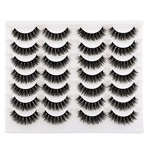 Wiwoseo False Eyelashes Faux Mink Lashes Wispy Natural Length Thick Volume Fake Eye Lashes 14 Pairs Pack