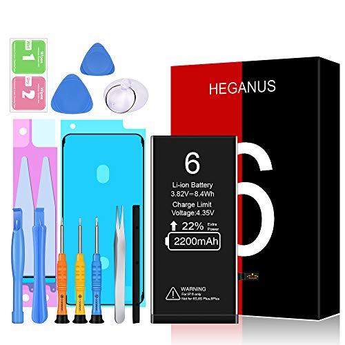 Akku für iPhone 6 2200mAh, Heganus Hohe Kapazität Akku Reparaturset mit Anleitung & Ersatz Klebestreifen Set, Kompatibel mit iPhone 6, Garantie 2 Jahr 100%…