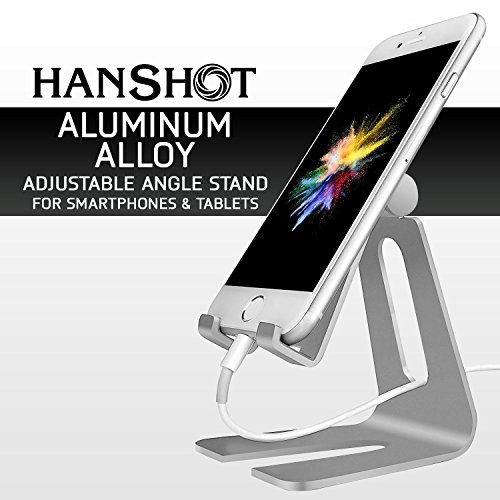 Hanshot Adjustable Desktop Cell Phone Stand, Tablet Stand, Cell Phone Charging Dock, Cradle, For all Android Smartphone, iPad, iPhone 6 6s 7 Plus 5 5s 5c (Silver)