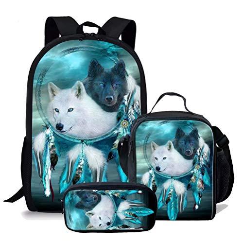 chaqlin Rucksack mit Tiermotiv, 2 Stück, coole Büchertaschen, isolierte Lunch-Tasche für Jungen und Mädchen, modische Schultaschen für Kinder