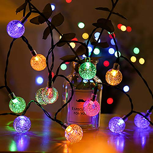 Solar String Light for Outdoor - 20 LED Crystal Ball String Lights,Solar Powered Waterproof 8 Modes Decorative Fairy Lights for Backyard Wedding,Christmas,Bistro,Garden Decoration(Multicolor)