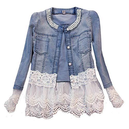 Avondii Damen Jeansjacke mit Spitze und Perlen Kurz Blau Denim Jacke Tops (XXL)