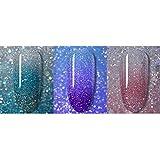 QQINGHAN Esmalte de uñas Gel Brillante Lentejuelas Efecto Cambio de Color Barnices Bling Glitter Remoje la Temperatura Color Cambio de Gel (Color : 3Pcs Set D)