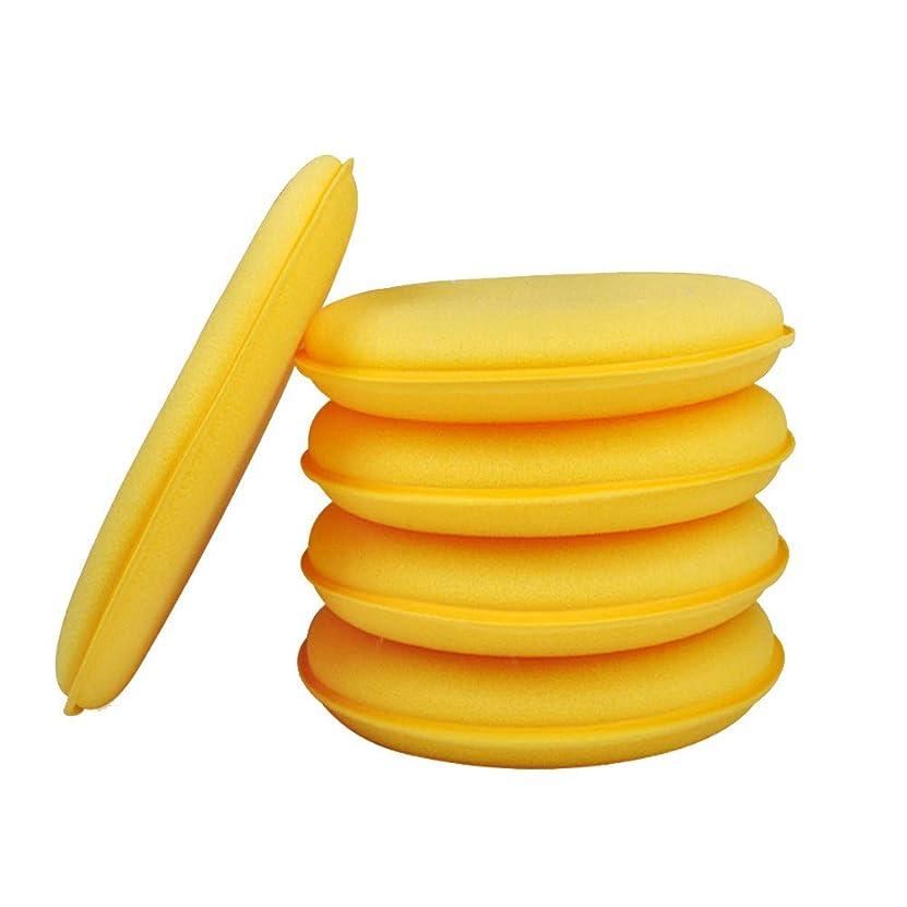 ステップ条約普及Vosarea 10ピース洗車スポンジ洗浄スクラバーカーワックスアプリケーターパッド用自動車自動車クリーナーツール(黄色)