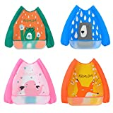 Irypulse Pack de 4 Babero de Manga Larga Impermeable Para Bebé 0-3 Años, EVA Material Con Bolsillo Para Pintura Comer Jugar Rosa/Naranja/Azul/Verde