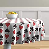 Roostery Round Tablecloth, Playing Cards Red and Black Suits Ace of Spades Card Games Game Aces Jack Poker Print, Cotton Sateen Tablecloth, 90in