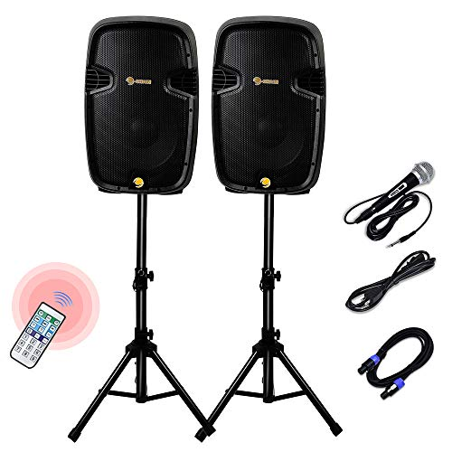 C-Chain Dual 2-Way Powered PA Speaker System, Portable DJ Speaker with Active + Passive Speakers