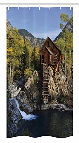 """Ambesonne Landscape Stall Shower Curtain, Secluded Wooden Cabin in Woods River Waterfall Forest Mill Mountain Pine Trees, Fabric Bathroom Decor Set with Hooks, 36"""" X 72"""", Blue Green"""