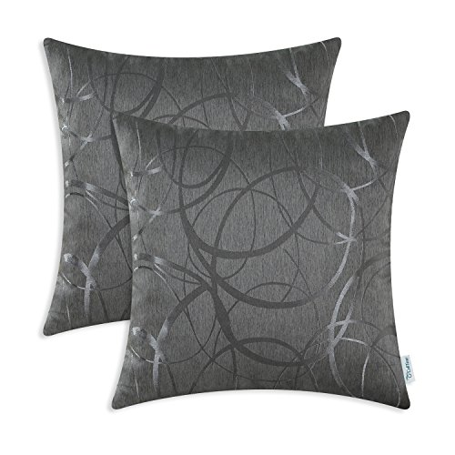 CaliTime Kissenbezüge Kissenhülle Pack von 2 Dekokissen Cases Schalen für Couch Sofa Home Decor Modern Shining & Dull Contrast Circles Ringe Geometric 50cm x 50cm Grau