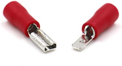 Baomain Red Female/Male Insulated Spade Wire Connector Electrical Crimp Terminal 22-16 AWG 2.8 x 0.5mm 100 Pack