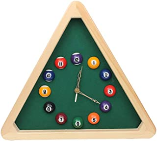 POIUYT Wall Clocks Battery Operated Solid Wood Billiards Modeling Easy To Read Home Office Classroom School Billiard Room ...