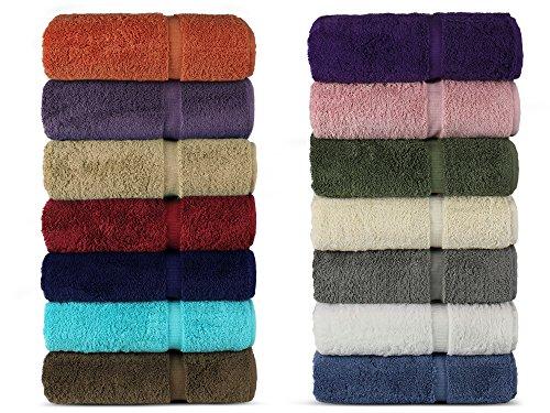 Luxury Hotel & Spa 100% Cotton Premium Turkish Bath Towels, 27' x 54'' (Set of 4, Mixed Color)