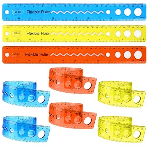 10 Piezas Regla Flexible Transparente, Reglas Plegables de Plástico Regla de Dibujo de 30 cm Juego de Reglas Flexible para Escuela y Oficina