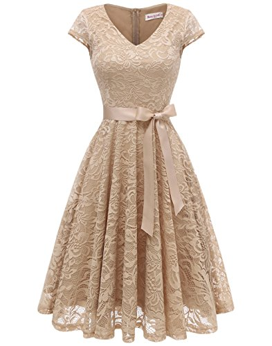 BeryLove Damen V-Ausschnitt Kurz Brautjungfer Kleid Cocktail Party Floral Kleid BLP7006ChampagneS