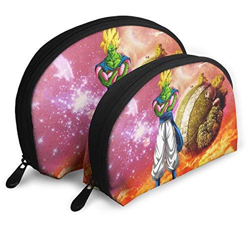 Bolsa de maquillaje de Dragon-Ball Super Piccolo, bolsa de embrague portátil, monedero para mujer, multifunción, bolsa de almacenamiento de viaje, forma de concha con cremallera, 2 unidades)