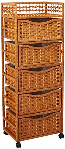 """Oriental Furniture 46"""" Natural Fiber Chest of Drawers on Wheels - Honey"""