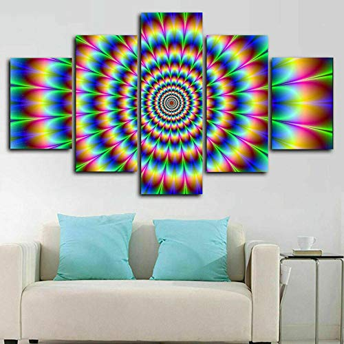 NHGBV Canvas Painting 5 Piece Optical Illusion Trippy Psychedelic 5 Pieces Canvas Prints Wall Art Pictures Modern Canvas Painting Giclee Artwork for Home Decoration (Large Size 60x32inch)