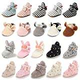 Timatego Newborn Baby Boys Girls Cozy Fleece Booties with Grippers Stay On Slipper Socks Infant Toddler Crib Winter Shoes for Boys Girls, 0-6 Months Infant, 07 Light Grey White Baby Booties