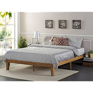 Zinus 12 Inch Wood Platform Bed/No Boxspring Needed/Wood Slat Support/Rustic Pine Finish, Queen