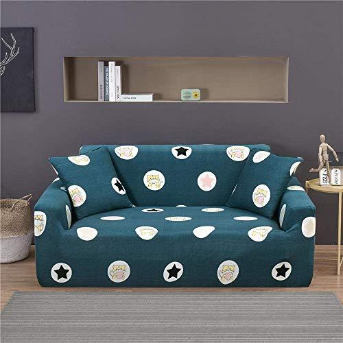 ZHBH Funda de sofá elástica de tela elástica con estrellas verdes, fundas de sofá para sofá y sofá – Funda protectora de sofá con 1 funda de almohada