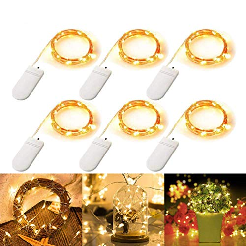 LED String Fairy Lights, 3m 30 LEDs Battery Powered Copper Wire Micro LED String Lights IP65 Waterproof Firefly Light for DIY Wedding Party Christmas Festival Decoration, Warm White - 6 Pack
