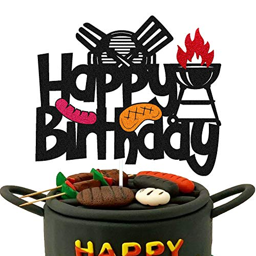 Barbecue Cake Topper for BBQ Sausage Roti Grill Cooking Theme Happy Birthday Cake Decorations Kids Boy Girl Bday Party Handmade Double Side Glitter Black Supplies Decor