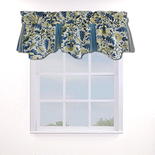 WAVERLY Valances for Windows - Imperial Dress 50' x 18' Short Curtain Valance Small Window Curtains Bathroom, Living Room and Kitchens, Porcelain