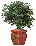 Nearly Natural 6718 35in. Double Bamboo Palm with Decorative Planter Silk Plant,Green