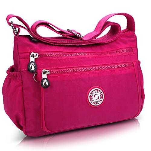 AIBILIEI multi-tasca Moda Borsa Messenger Bag, Squisito Donna Viaggio, Escursioni, Shopping uso Quotidiano(2-Rosa)