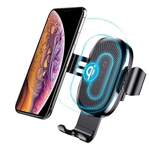 Cargador Inalambrico Coche, Baseus 10W Qi Cargador Inalambrico Movil Coche con Soporte de Teléfono para Samsung Galaxy Note 8/S8/S7/S6 Edge +/Note 5, Carga Estándar para iPhone X/8/8 Plus