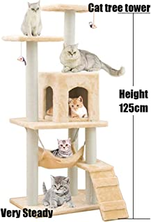 Cat Tree Tower Cat Tree House Cat Tree Condo Cat Scratcher 4.1ft (125cm) Wood Rattan Pet Supplies with Versatile Safe Bed Easy to Assemgbly, Khaki